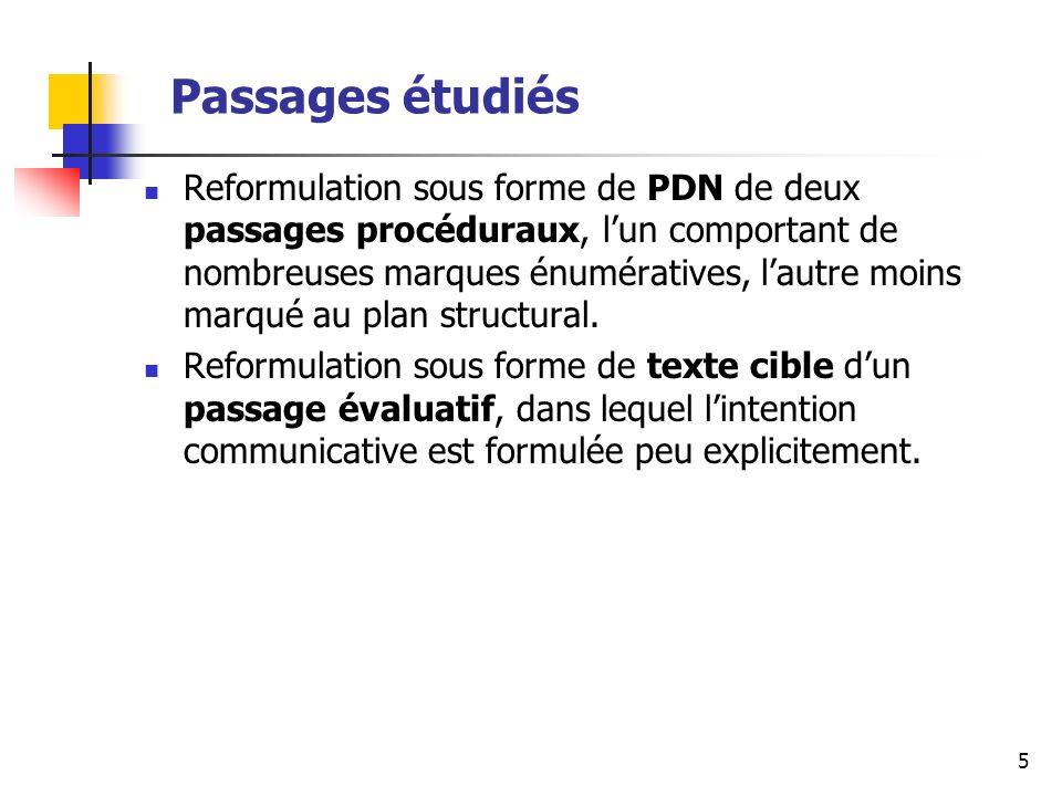 5 Passages étudiés Reformulation sous forme de PDN de deux passages procéduraux, lun comportant de nombreuses marques énumératives, lautre moins marqué au plan structural.