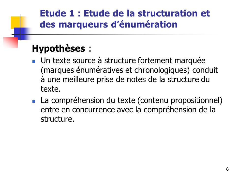 6 Etude 1 : Etude de la structuration et des marqueurs dénumération Hypothèses : Un texte source à structure fortement marquée (marques énumératives et chronologiques) conduit à une meilleure prise de notes de la structure du texte.