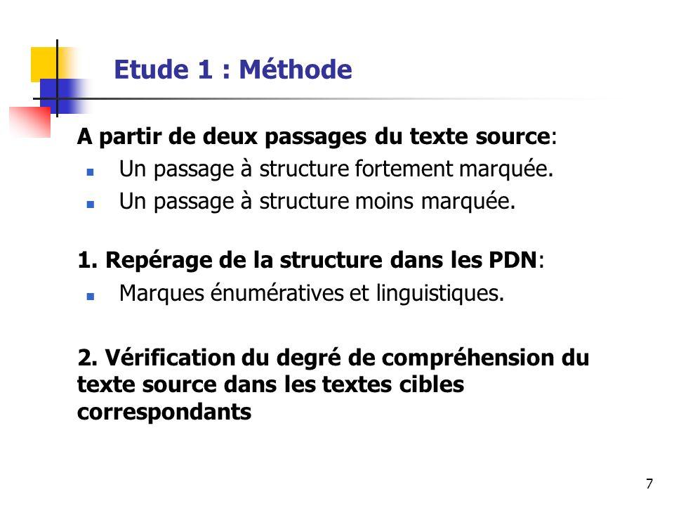 18 Etude 2 : Connecteurs argumentatifs (au sens large) Assez peu de marques de ce type dans le texte cible (26 marques dans 16 textes).