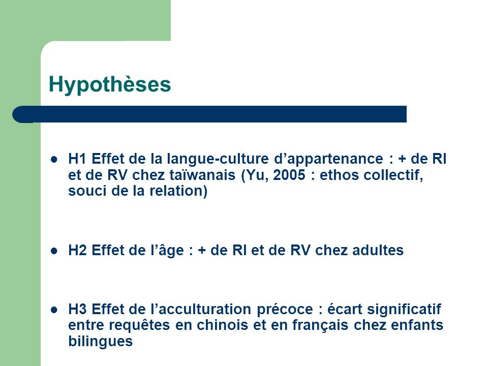 Hypothèses H1 Effet de la langue-culture dappartenance : + de RI et de RV chez taïwanais (Yu, 2005 : ethos collectif, souci de la relation) H2 Effet d