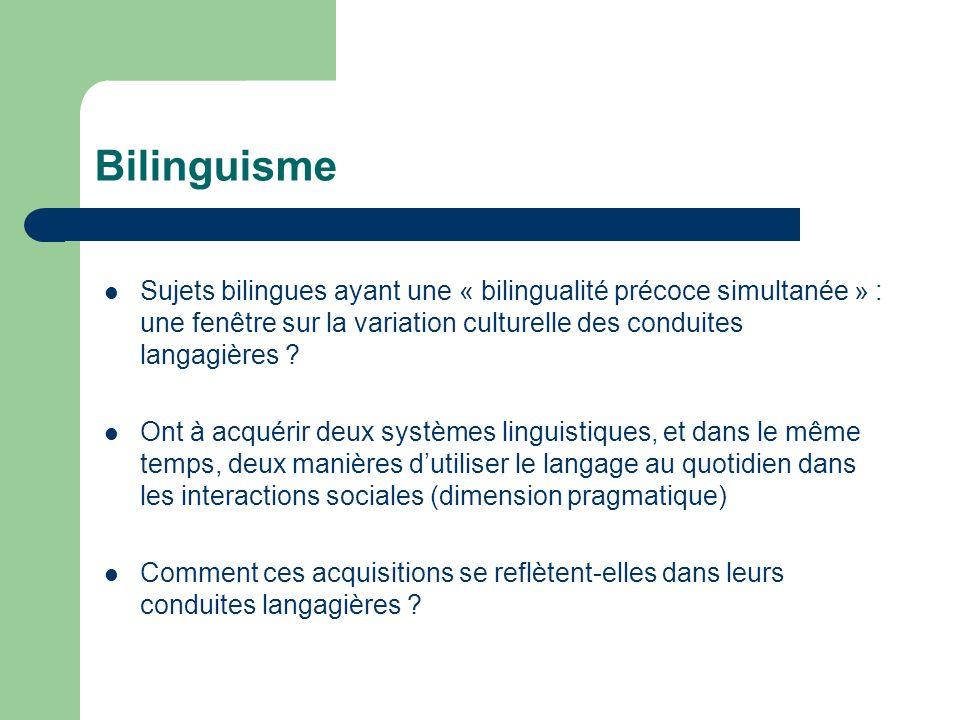 Bilinguisme Sujets bilingues ayant une « bilingualité précoce simultanée » : une fenêtre sur la variation culturelle des conduites langagières ? Ont à