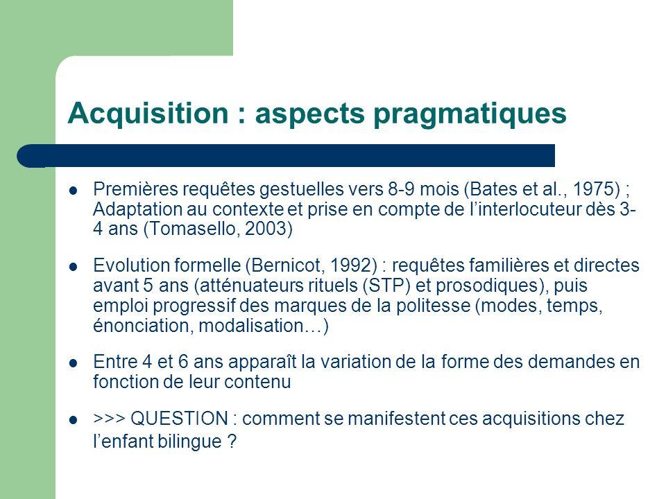 Acquisition : aspects pragmatiques Premières requêtes gestuelles vers 8-9 mois (Bates et al., 1975) ; Adaptation au contexte et prise en compte de lin