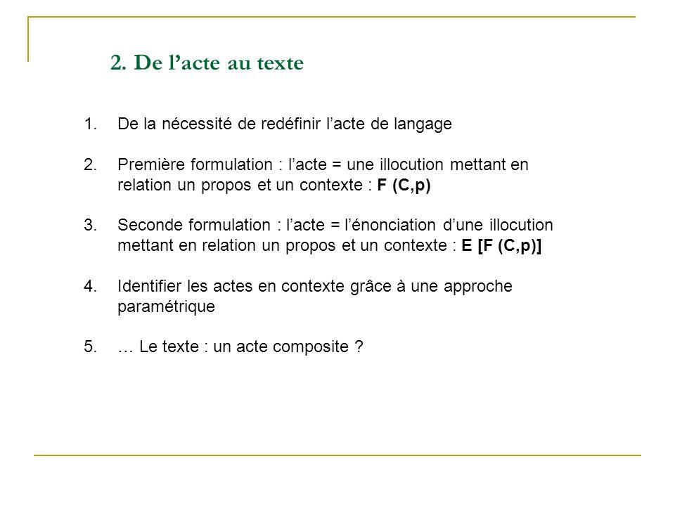 1.De la nécessité de redéfinir lacte de langage 2. Première formulation : lacte = une illocution mettant en relation un propos et un contexte : F (C,p
