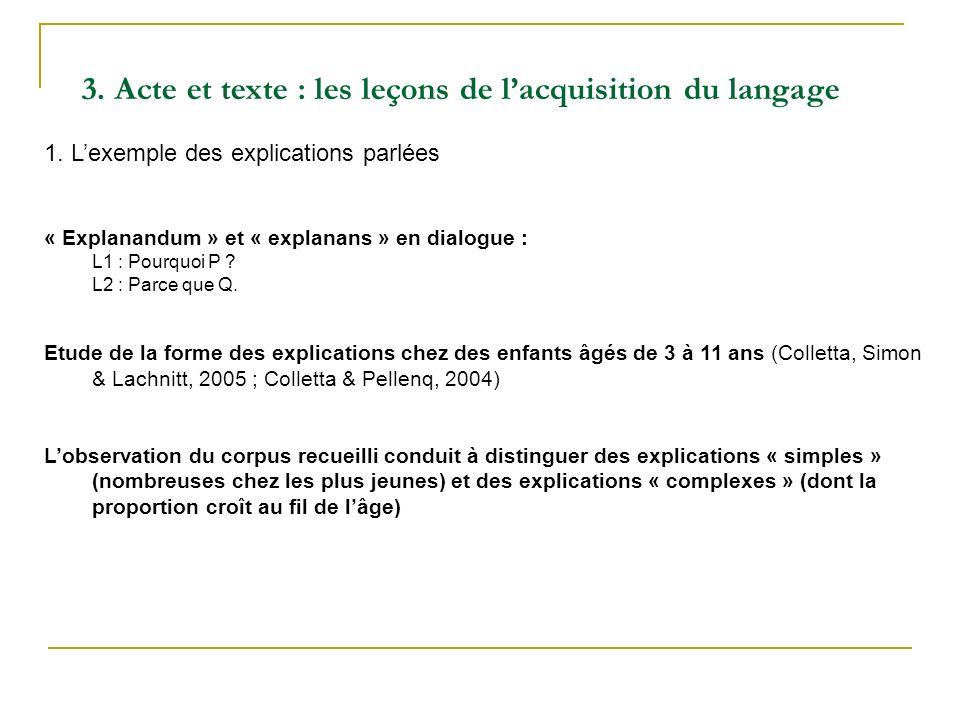 1. Lexemple des explications parlées « Explanandum » et « explanans » en dialogue : L1 : Pourquoi P ? L2 : Parce que Q. Etude de la forme des explicat