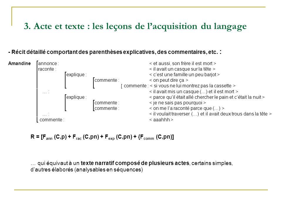 Amandine annonce : raconte : explique : commente : … : explique : commente : … : commente : R = [F ann (C,p) + F rac (C,pn) + F exp (C,pn) + {F comm (C,pn)] … qui équivaut à un texte narratif composé de plusieurs actes, certains simples, dautres élaborés (analysables en séquences) - Récit détaillé comportant des parenthèses explicatives, des commentaires, etc.