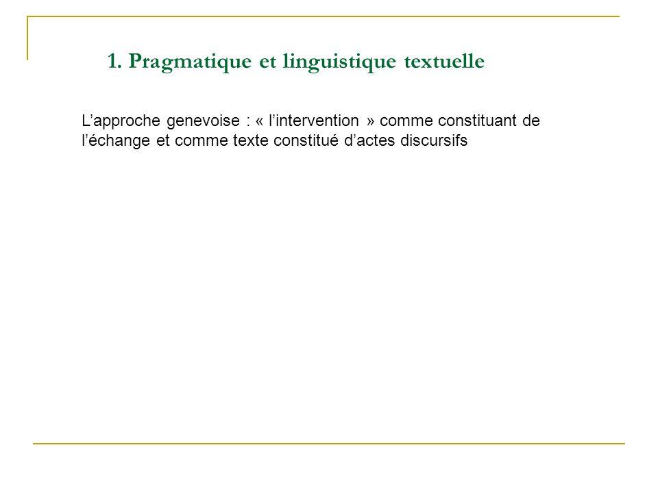 Lapproche genevoise : « lintervention » comme constituant de léchange et comme texte constitué dactes discursifs 1. Pragmatique et linguistique textue