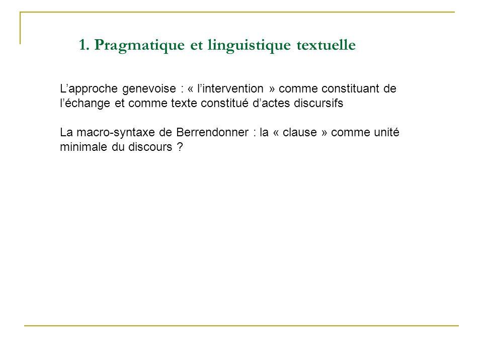 Lapproche genevoise : « lintervention » comme constituant de léchange et comme texte constitué dactes discursifs La macro-syntaxe de Berrendonner : la « clause » comme unité minimale du discours .