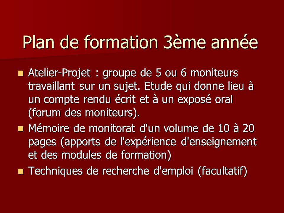 Plan de formation 3ème année Atelier-Projet : groupe de 5 ou 6 moniteurs travaillant sur un sujet.