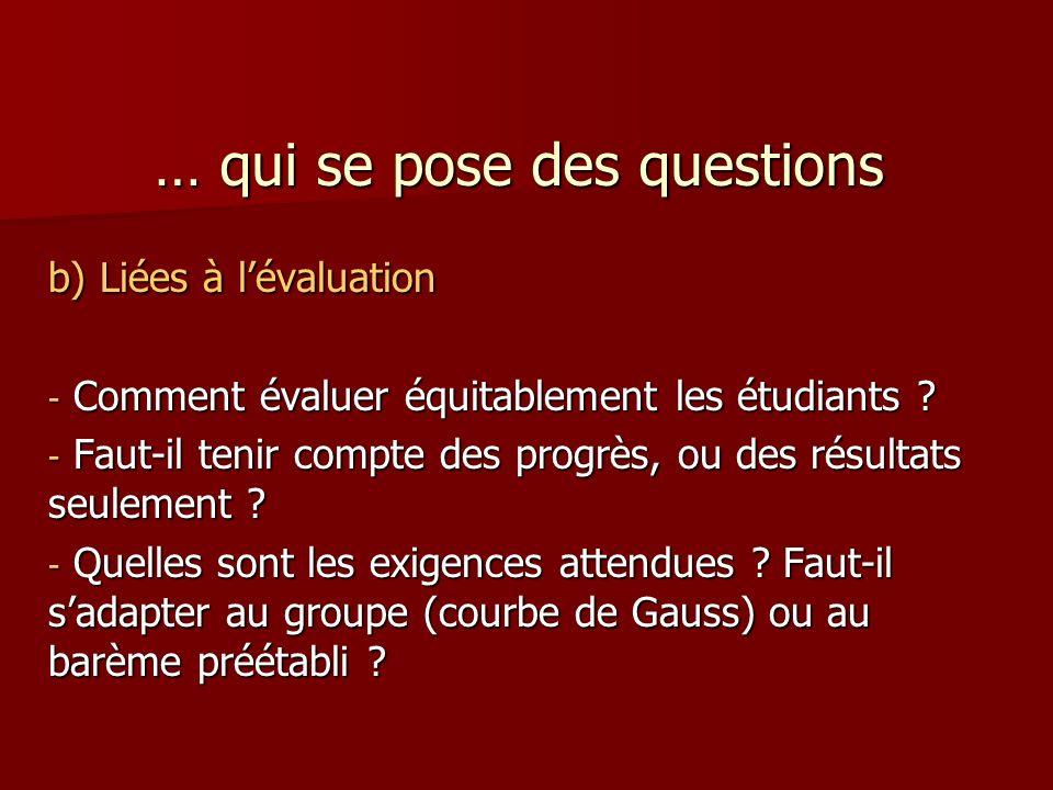 … qui se pose des questions b) Liées à lévaluation - Comment évaluer équitablement les étudiants .