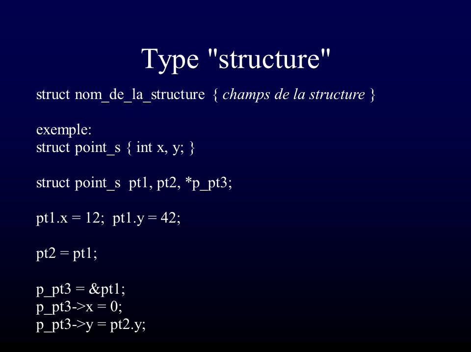 Type structure struct nom_de_la_structure { champs de la structure } exemple: struct point_s { int x, y; } struct point_s pt1, pt2, *p_pt3; pt1.x = 12; pt1.y = 42; pt2 = pt1; p_pt3 = &pt1; p_pt3->x = 0; p_pt3->y = pt2.y;