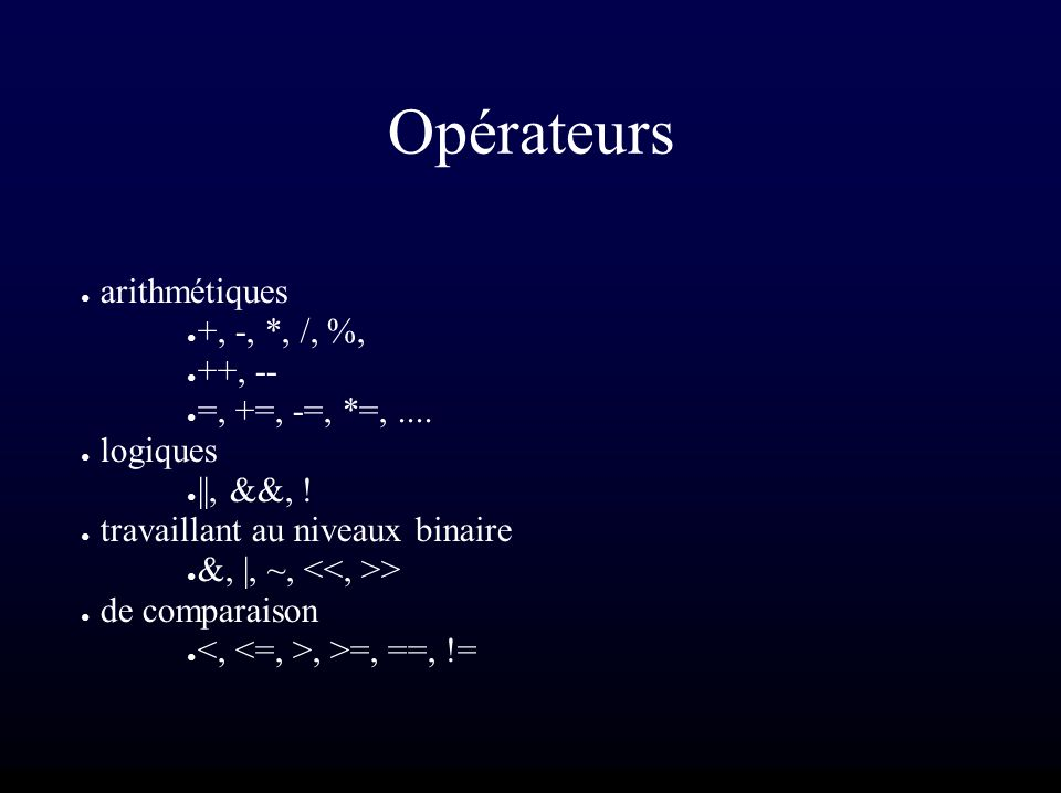 Opérateurs arithmétiques +, -, *, /, %, ++, -- =, +=, -=, *=,.... logiques ||, &&, ! travaillant au niveaux binaire &, |, ~, > de comparaison, >=, ==,