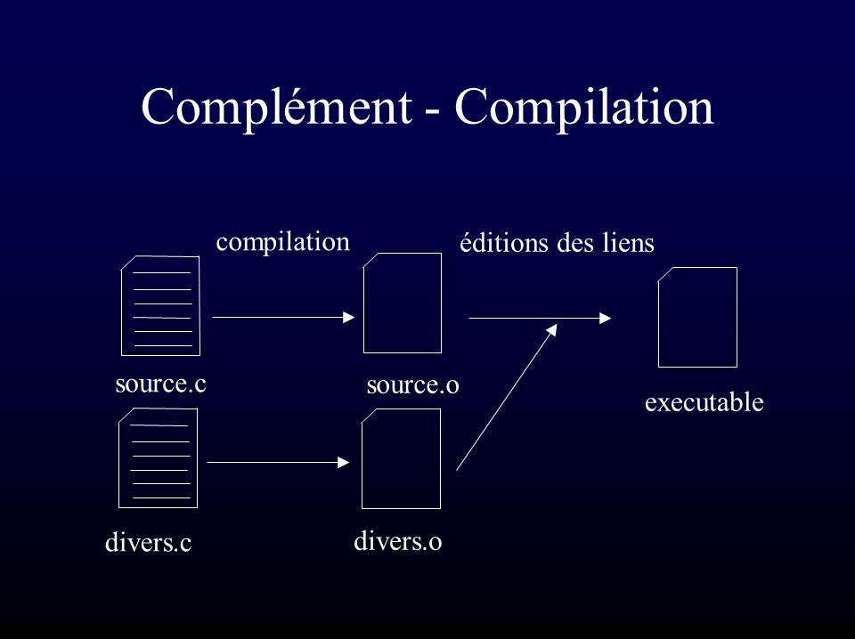 Complément - Compilation source.c divers.c source.o divers.o executable compilation éditions des liens