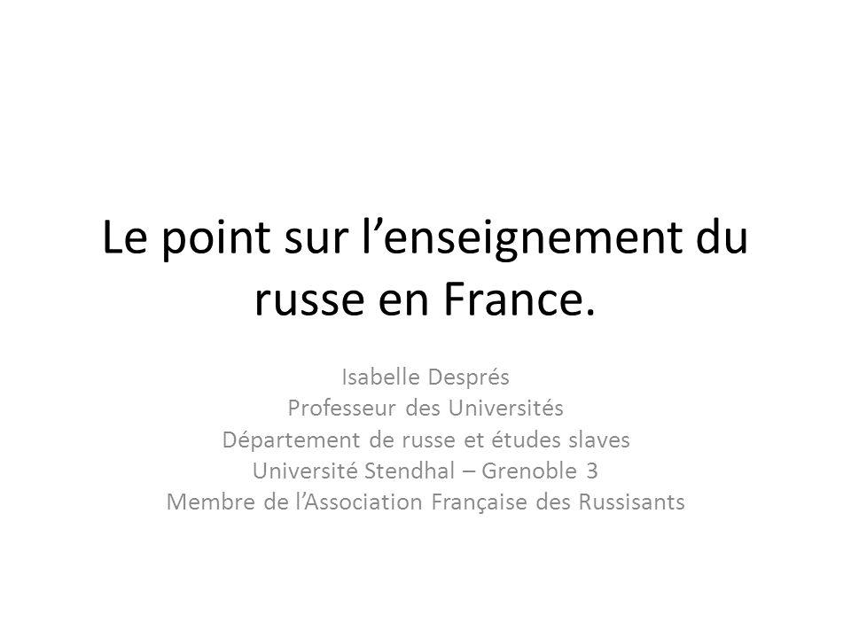 Le point sur lenseignement du russe en France.