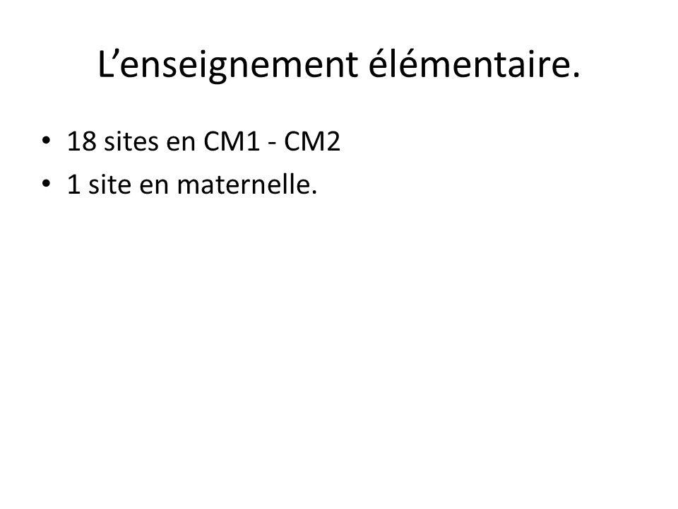 Lenseignement élémentaire. 18 sites en CM1 - CM2 1 site en maternelle.