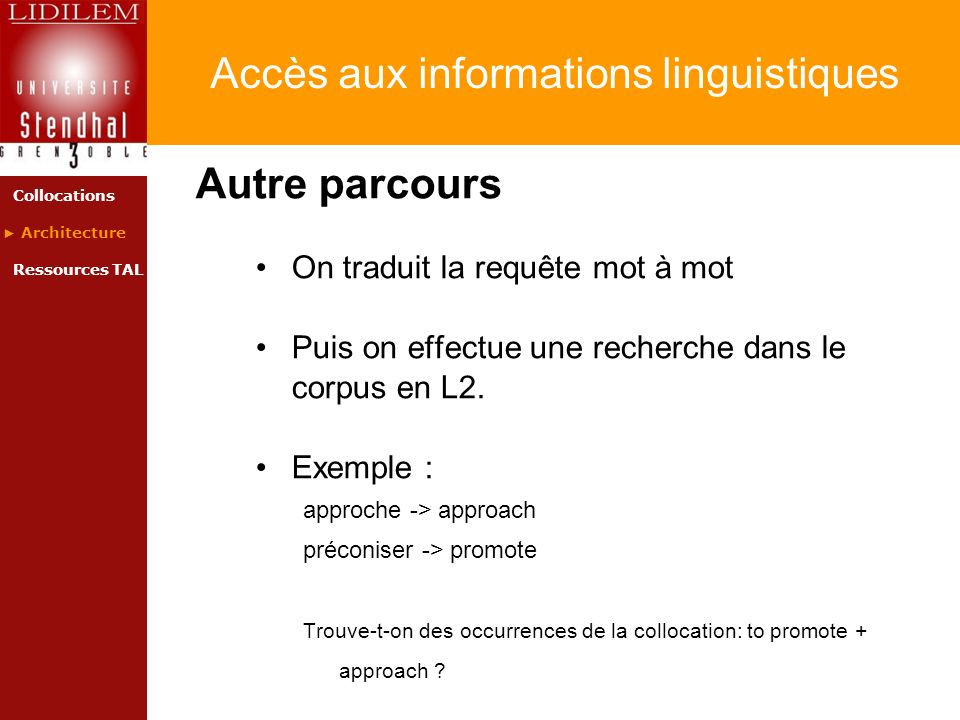 Accès aux informations linguistiques Autre parcours On traduit la requête mot à mot Puis on effectue une recherche dans le corpus en L2. Exemple : app
