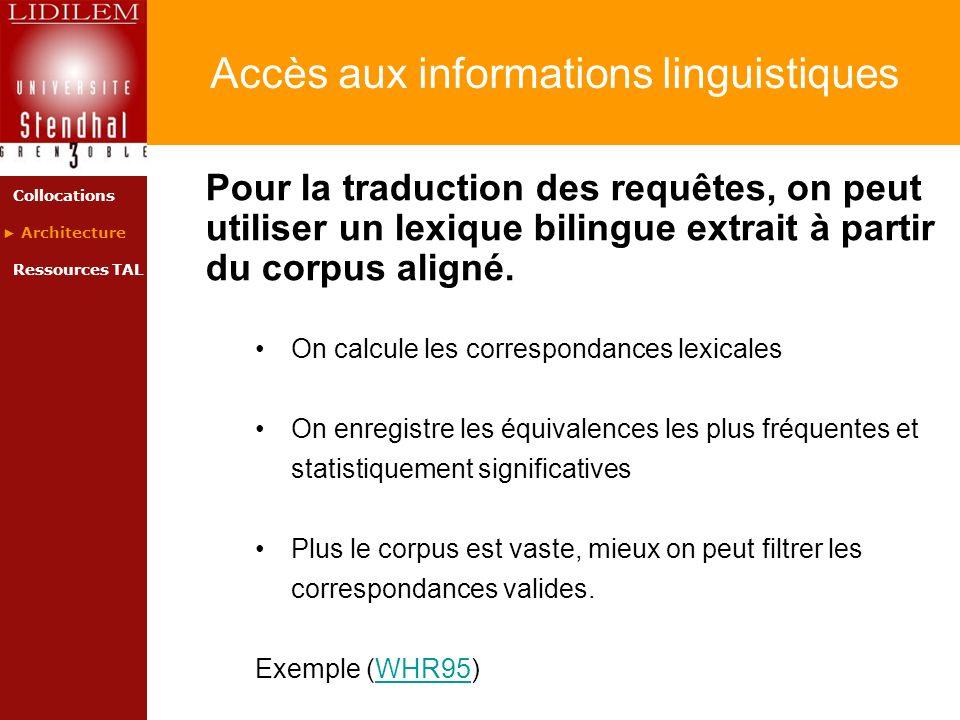 Accès aux informations linguistiques Pour la traduction des requêtes, on peut utiliser un lexique bilingue extrait à partir du corpus aligné. On calcu