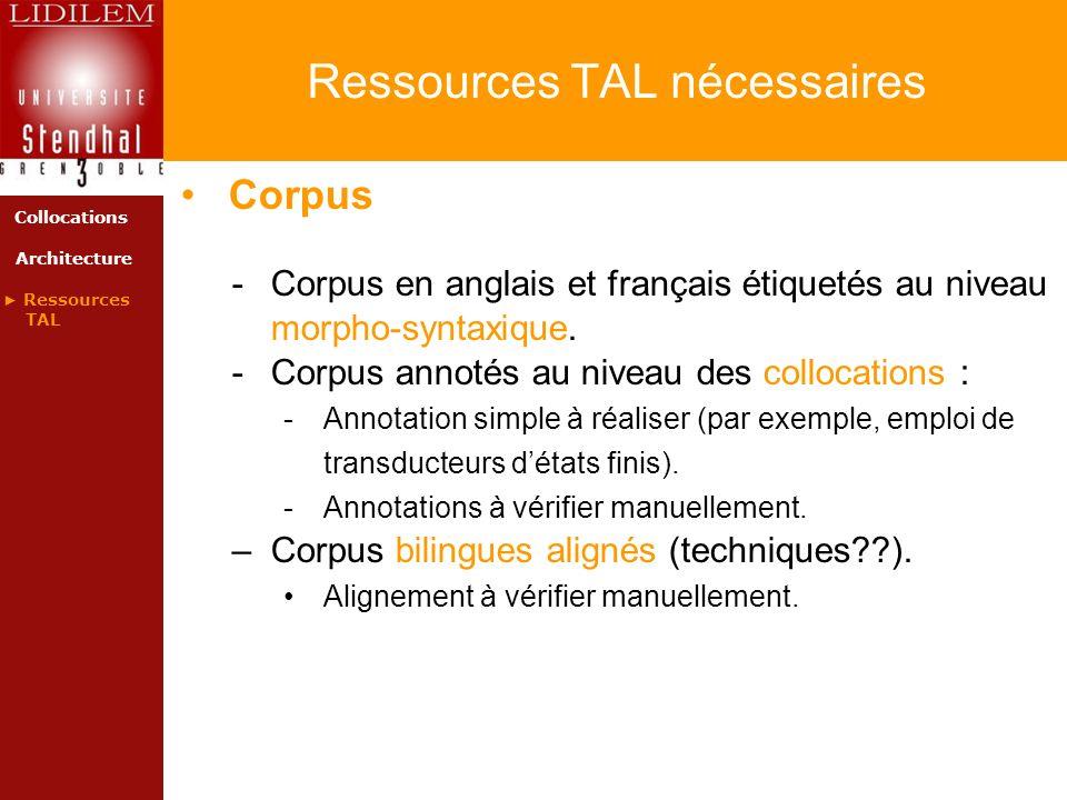 Ressources TAL nécessaires Corpus -Corpus en anglais et français étiquetés au niveau morpho-syntaxique. -Corpus annotés au niveau des collocations : -