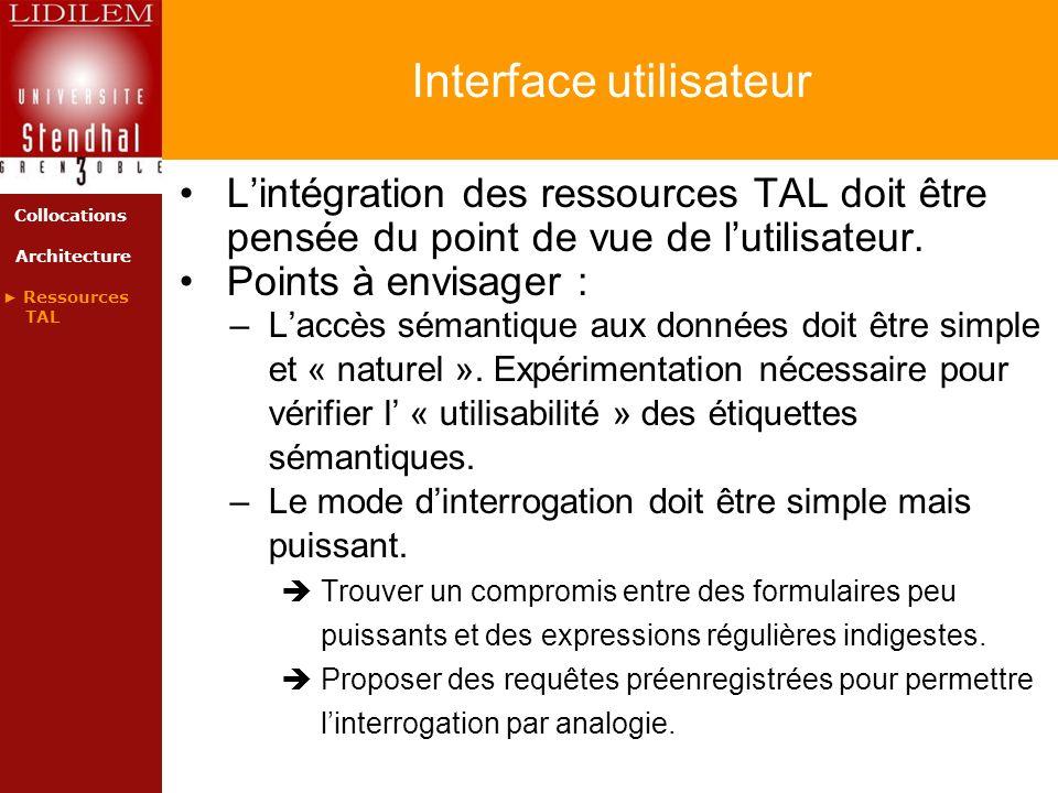 Interface utilisateur Lintégration des ressources TAL doit être pensée du point de vue de lutilisateur. Points à envisager : –Laccès sémantique aux do