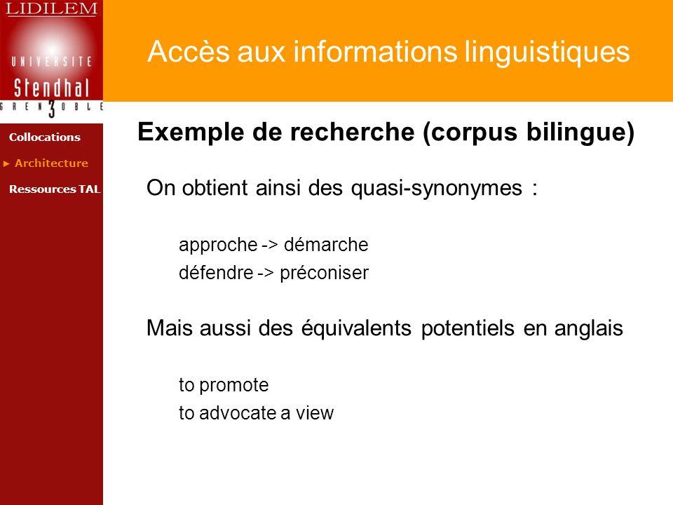 Accès aux informations linguistiques Exemple de recherche (corpus bilingue) On obtient ainsi des quasi-synonymes : approche -> démarche défendre -> pr