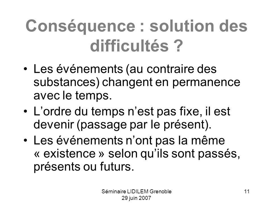 Séminaire LIDILEM Grenoble 29 juin 2007 11 Conséquence : solution des difficultés ? Les événements (au contraire des substances) changent en permanenc
