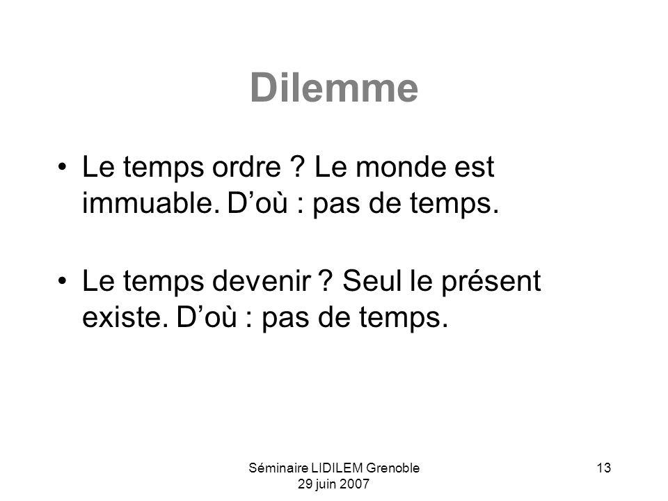 Séminaire LIDILEM Grenoble 29 juin 2007 13 Dilemme Le temps ordre .