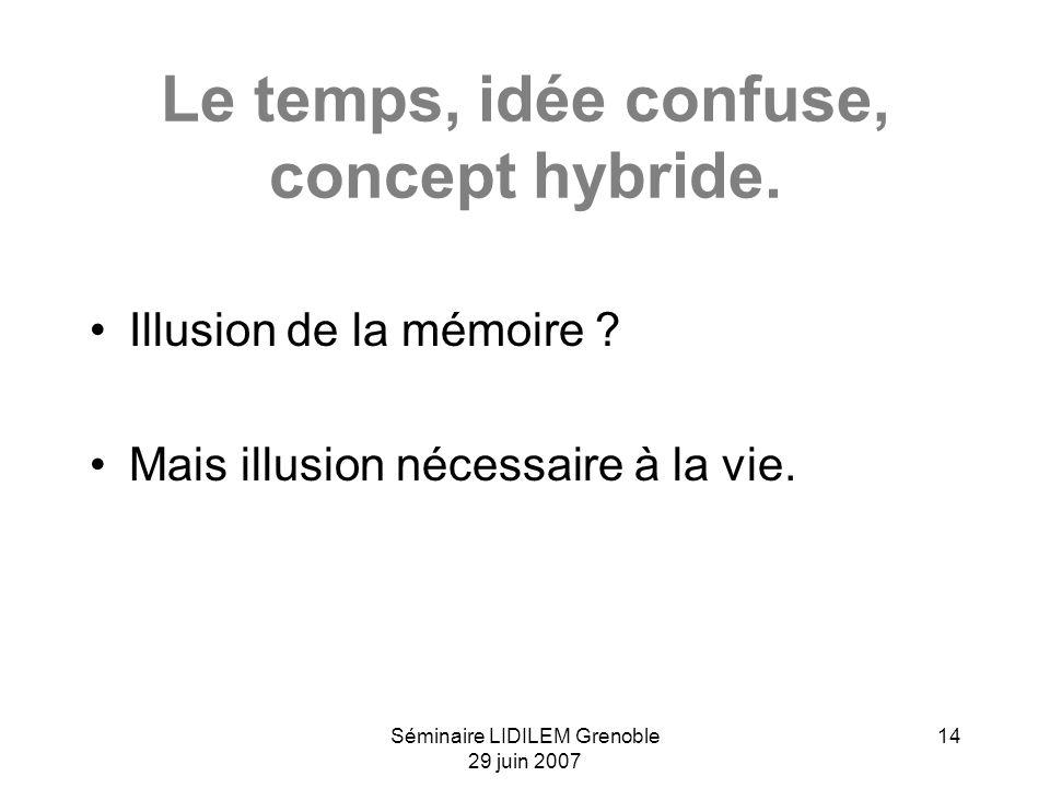 Séminaire LIDILEM Grenoble 29 juin 2007 14 Le temps, idée confuse, concept hybride. Illusion de la mémoire ? Mais illusion nécessaire à la vie.