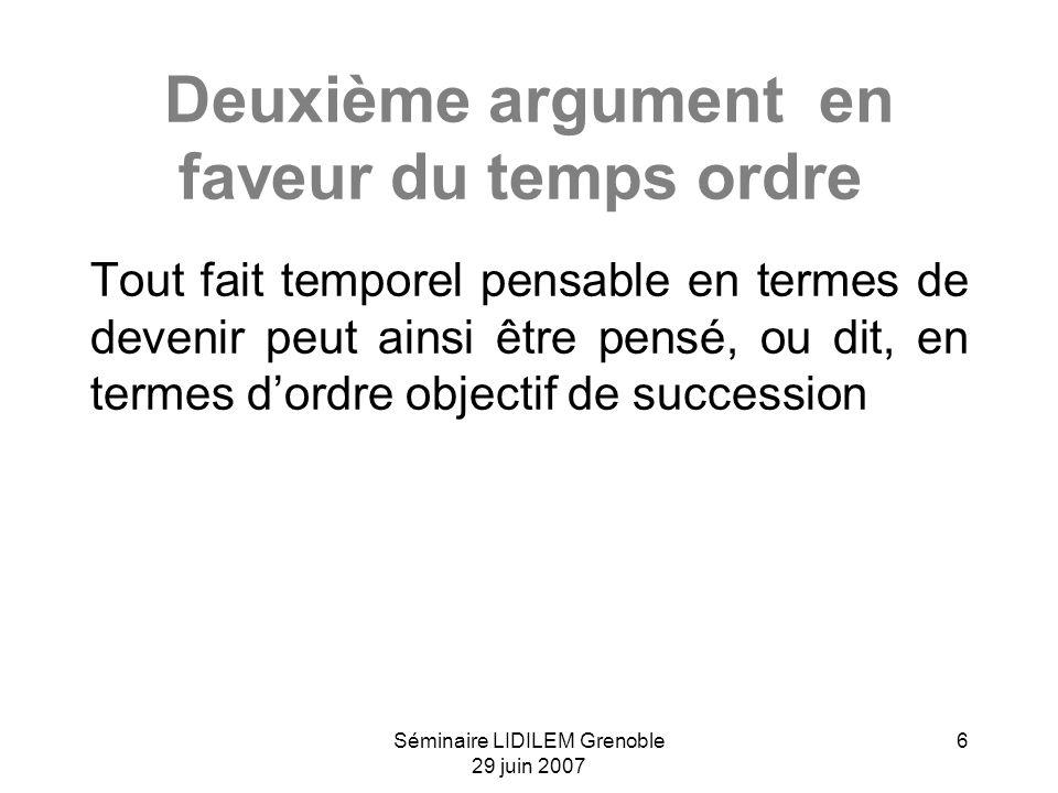 Séminaire LIDILEM Grenoble 29 juin 2007 6 Deuxième argument en faveur du temps ordre Tout fait temporel pensable en termes de devenir peut ainsi être pensé, ou dit, en termes dordre objectif de succession