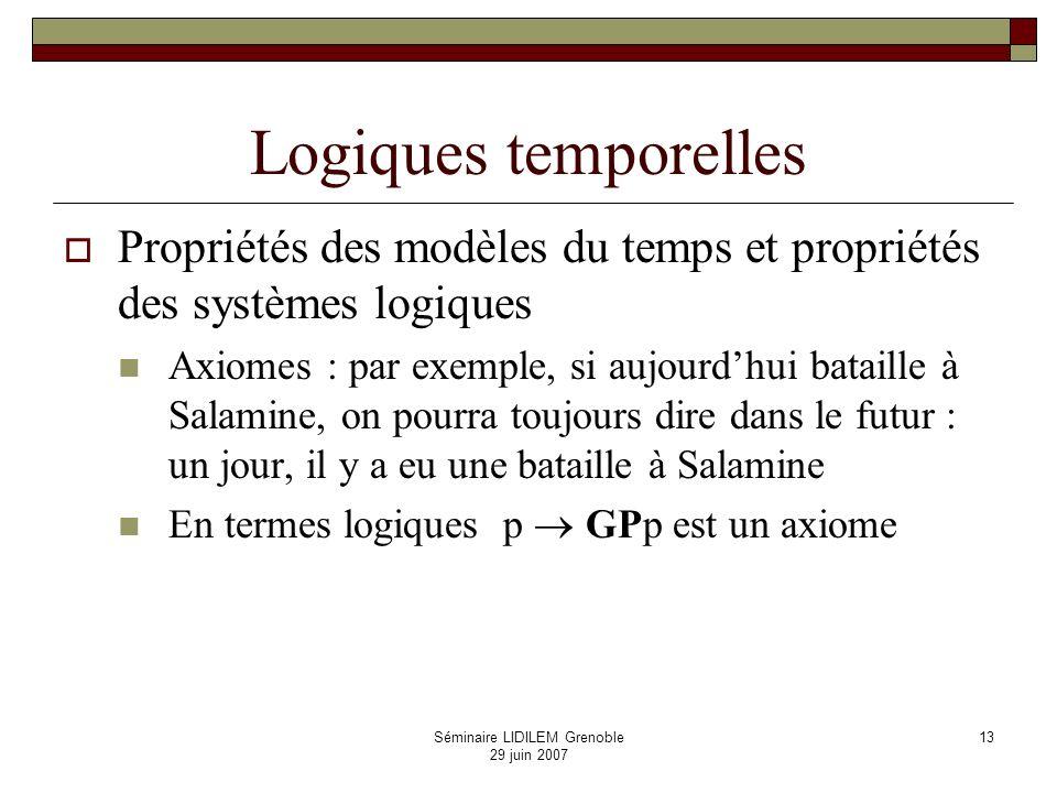 Séminaire LIDILEM Grenoble 29 juin 2007 14 Axiomatiques et complétude Un système déductif : la logique temporelle minimale Schémas daxiomes : G ( ) (G G ) H ( ) (H H ) GP HF Règles de déduction : modus ponens : si et ( ) sont des théorèmes, alors est un théorème généralisation temporelle : si est un théorème, alors G et H également