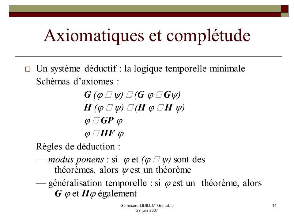 Séminaire LIDILEM Grenoble 29 juin 2007 15 Logiques temporelles (suite) Programme de Prior Systèmes daxiomes et modèles correspondants, résultats de complétude Théorie des correspondances entre axiomes et propriétés de modèles : p.ex.