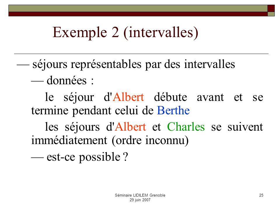 Séminaire LIDILEM Grenoble 29 juin 2007 26 peut-on rajouter le fait que le séjour de Berthe ait lieu après celui de Charles (immédiatement ou non) .