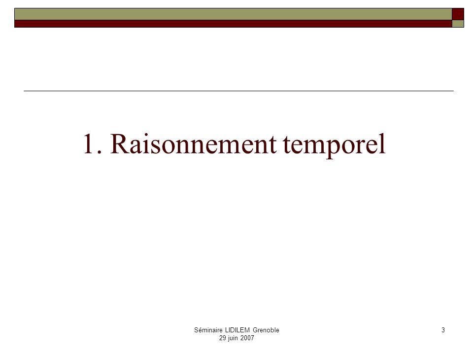Séminaire LIDILEM Grenoble 29 juin 2007 4 Raisonner sur … Représenter des connaissances sur … nature des connaissances types de représentation Raisonner très large : induction, abduction, analogie, etc.