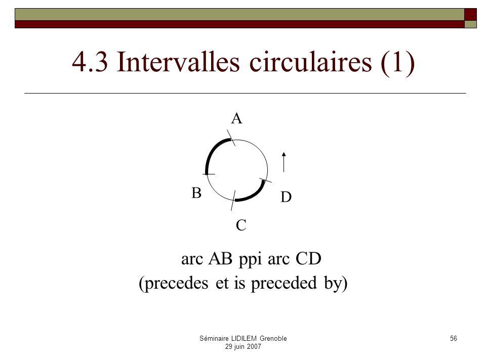 Séminaire LIDILEM Grenoble 29 juin 2007 57 Intervalles circulaires (2) X Y mi m bbi ooi ooi di d mmi moiomi fi f s si eq