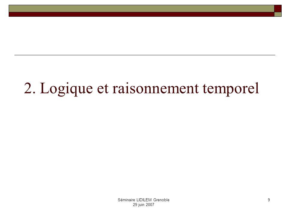 Séminaire LIDILEM Grenoble 29 juin 2007 10 Logiques temporelles Un langage basé sur la logique propositionnelle var.