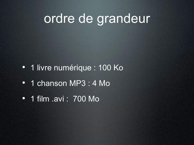 ordre de grandeur 1 livre numérique : 100 Ko 1 chanson MP3 : 4 Mo 1 film.avi : 700 Mo