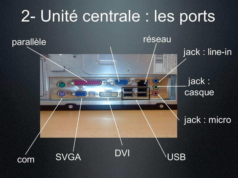 2- Unité centrale : les ports USB réseau jack : micro parallèle jack : casque jack : line-in com SVGA DVI