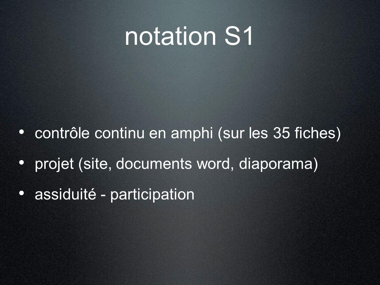 notation S1 contrôle continu en amphi (sur les 35 fiches) projet (site, documents word, diaporama) assiduité - participation