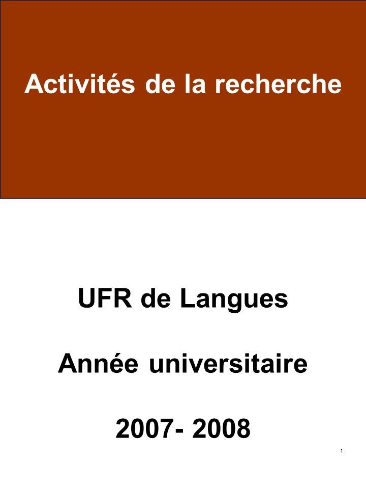 1 UFR de Langues Année universitaire 2007- 2008 Activités de la recherche
