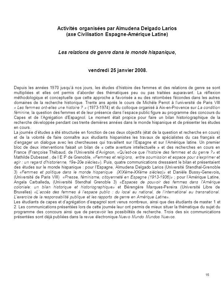 15 Activités organisées par Almudena Delgado Larios (axe Civilisation Espagne-Amérique Latine) Les relations de genre dans le monde hispanique, vendre