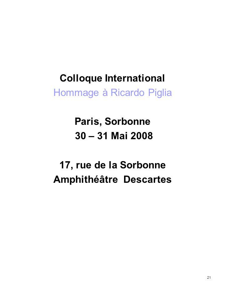21 Colloque International Hommage à Ricardo Piglia Paris, Sorbonne 30 – 31 Mai 2008 17, rue de la Sorbonne Amphithéâtre Descartes