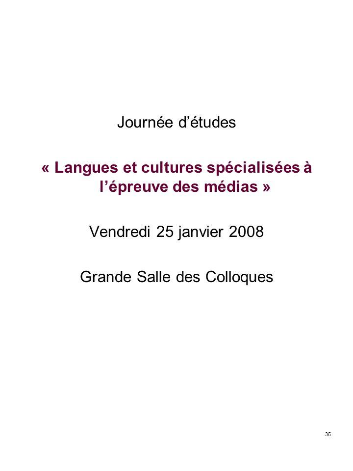 35 Journée détudes « Langues et cultures spécialisées à lépreuve des médias » Vendredi 25 janvier 2008 Grande Salle des Colloques