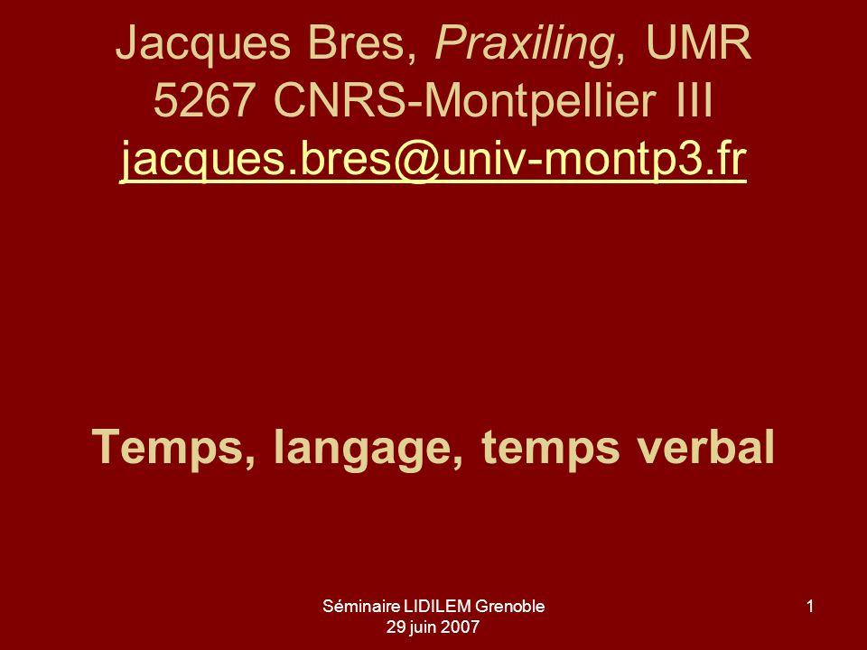 Séminaire LIDILEM Grenoble 29 juin 2007 1 Jacques Bres, Praxiling, UMR 5267 CNRS-Montpellier III jacques.bres@univ-montp3.fr Temps, langage, temps ver