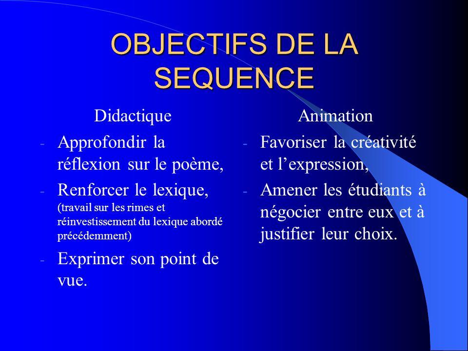 OBJECTIFS DE LA SEQUENCE Didactique - Approfondir la réflexion sur le poème, - Renforcer le lexique, (travail sur les rimes et réinvestissement du lex