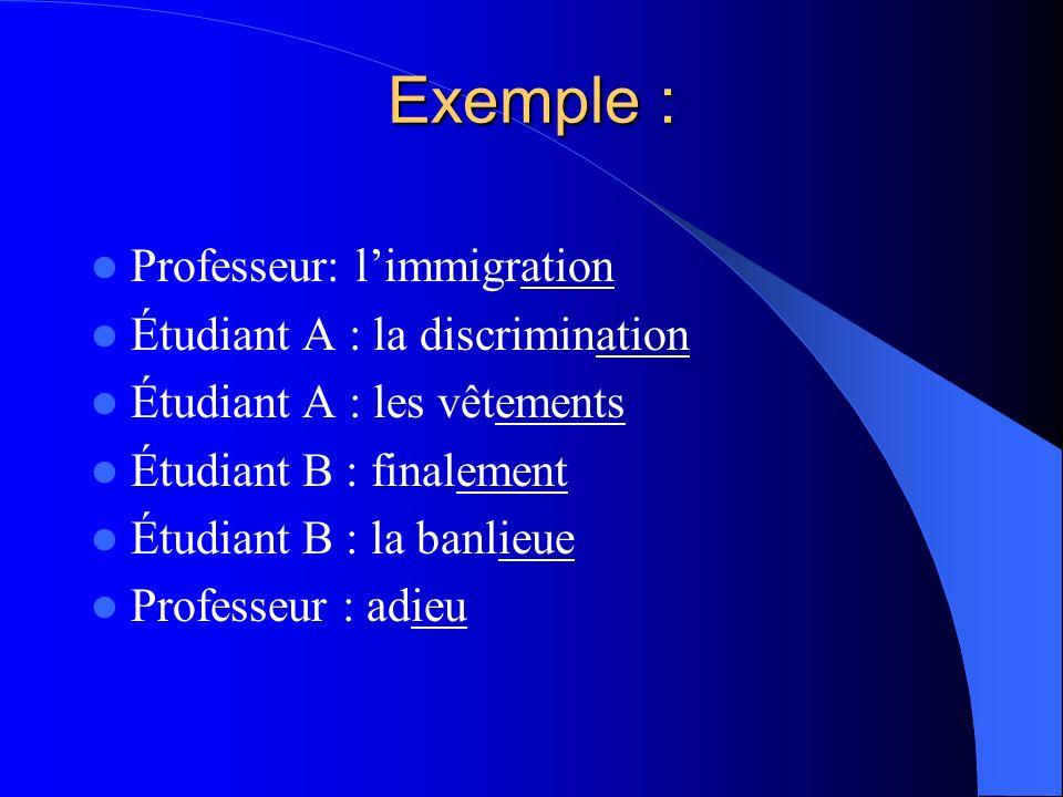 Exemple : Professeur: limmigration Étudiant A : la discrimination Étudiant A : les vêtements Étudiant B : finalement Étudiant B : la banlieue Professe