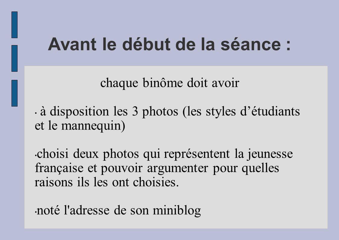 Avant le début de la séance : chaque binôme doit avoir à disposition les 3 photos (les styles détudiants et le mannequin) choisi deux photos qui repré