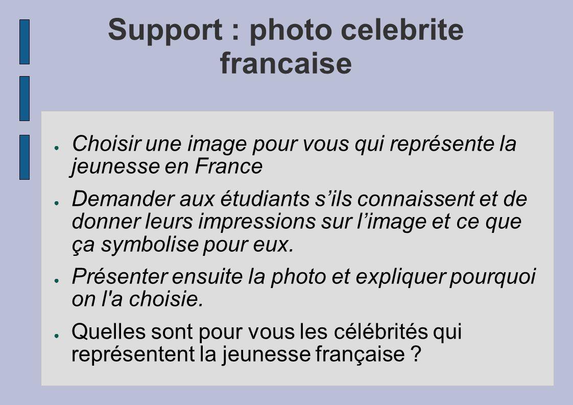 Support : photo celebrite francaise Choisir une image pour vous qui représente la jeunesse en France Demander aux étudiants sils connaissent et de don