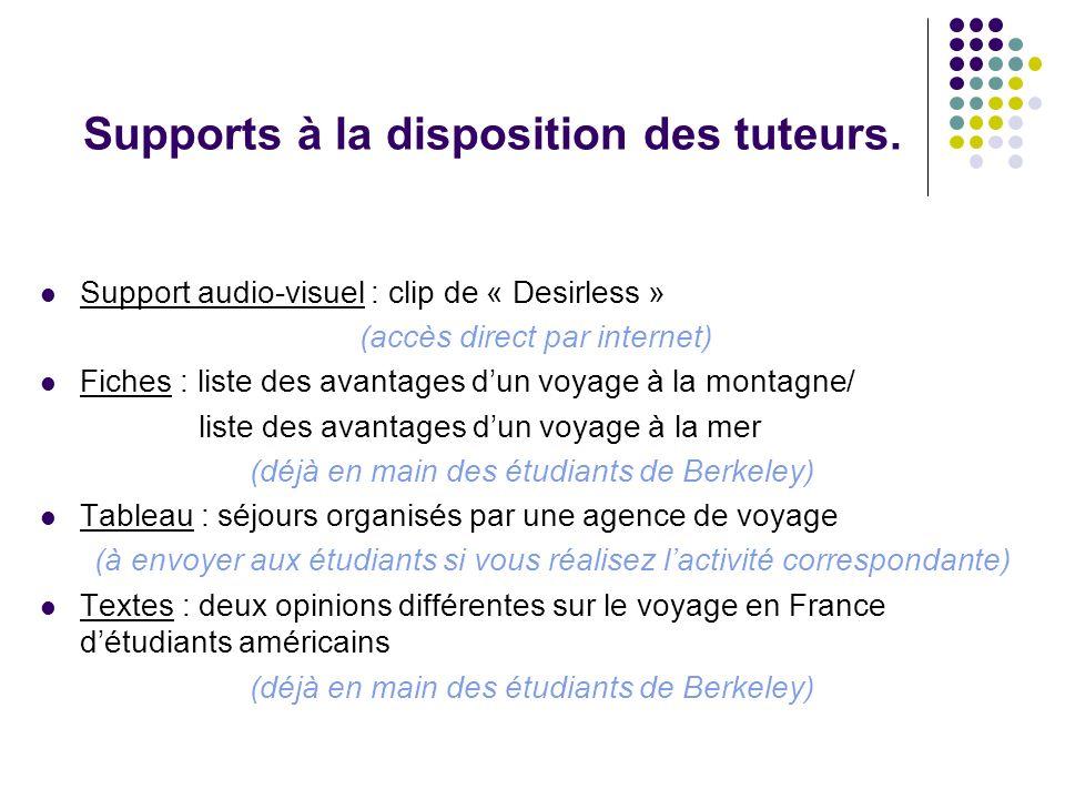 Supports à la disposition des tuteurs. Support audio-visuel : clip de « Desirless » (accès direct par internet) Fiches : liste des avantages dun voyag