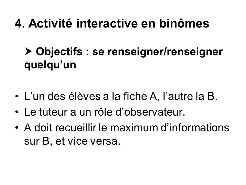 4. Activité interactive en binômes Objectifs : se renseigner/renseigner quelquun Lun des élèves a la fiche A, lautre la B. Le tuteur a un rôle dobserv