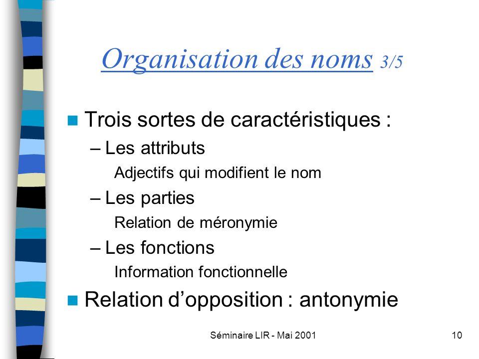 Séminaire LIR - Mai 200110 Organisation des noms 3/5 Trois sortes de caractéristiques : –Les attributs Adjectifs qui modifient le nom –Les parties Rel