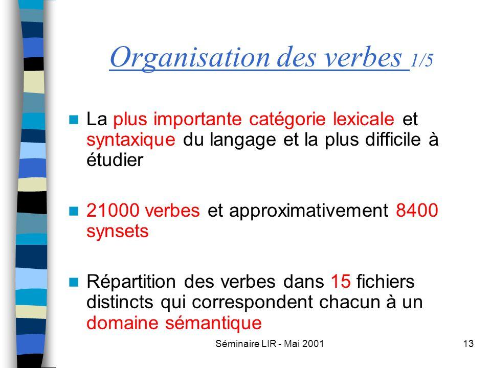 Séminaire LIR - Mai 200113 Organisation des verbes 1/5 La plus importante catégorie lexicale et syntaxique du langage et la plus difficile à étudier 2