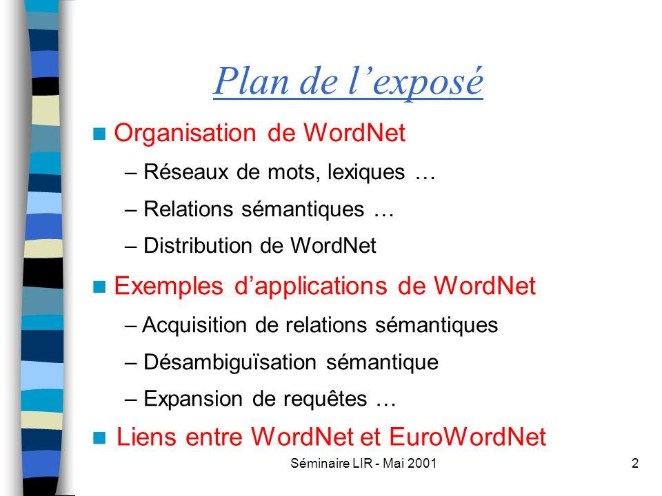 Séminaire LIR - Mai 20012 Plan de lexposé Liens entre WordNet et EuroWordNet Organisation de WordNet – Réseaux de mots, lexiques … – Relations sémanti